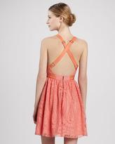 Alice + Olivia Odette Cross-Back Lace Dress