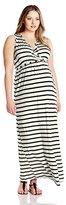 Three Seasons Maternity Women's Plus-Size Sleeveless Surplice Stripe Maxi Dress