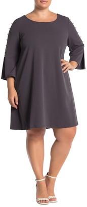 Nina Leonard Jewel Neck 3/4 Sleeve High Tech Dress (Plus Size)
