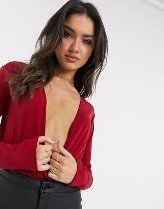 Flounce London deep plunge wrap bodysuit in