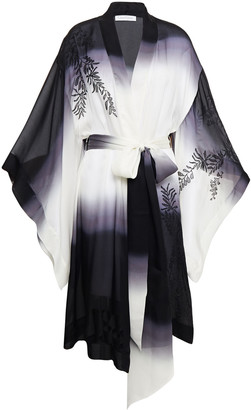 Carine Gilson Embroidered Degrade Printed Silk Crepe De Chine Kimono