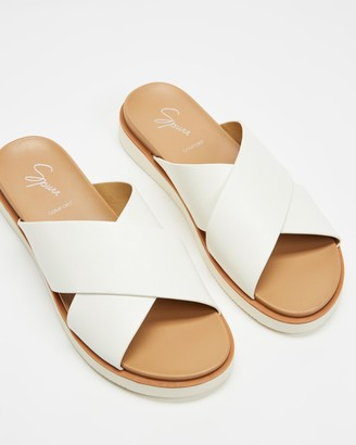 Spurr Women's White Flat Sandals - Jana Comfort Slides - Size 5 at The Iconic