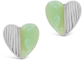 Sterling Forever Rhodium Plated Mint Stone Heart Stud Earrings