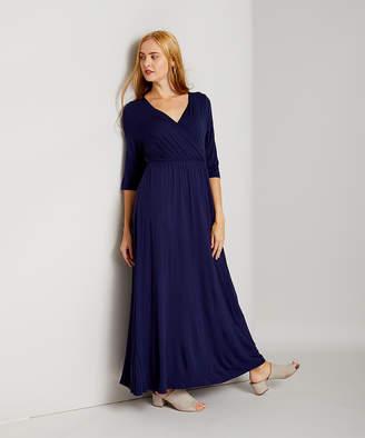 Bella Flore Women's Maxi Dresses NAVY - Navy Three-Quarter Sleeve Surplice Maxi Dress - Women & Plus