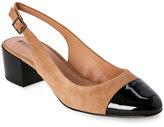 Tahari Fawn & Black Express Slingback Low Heel Pumps