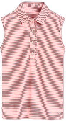 Tory Burch Performance Striped Sleeveless Ruffle Polo