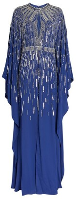 ZUHAIR MURAD Embellished Starlight Cady Cape Dress