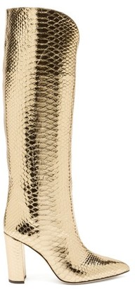 Paris Texas Metallic Knee-high Python-effect Leather Boots - Gold