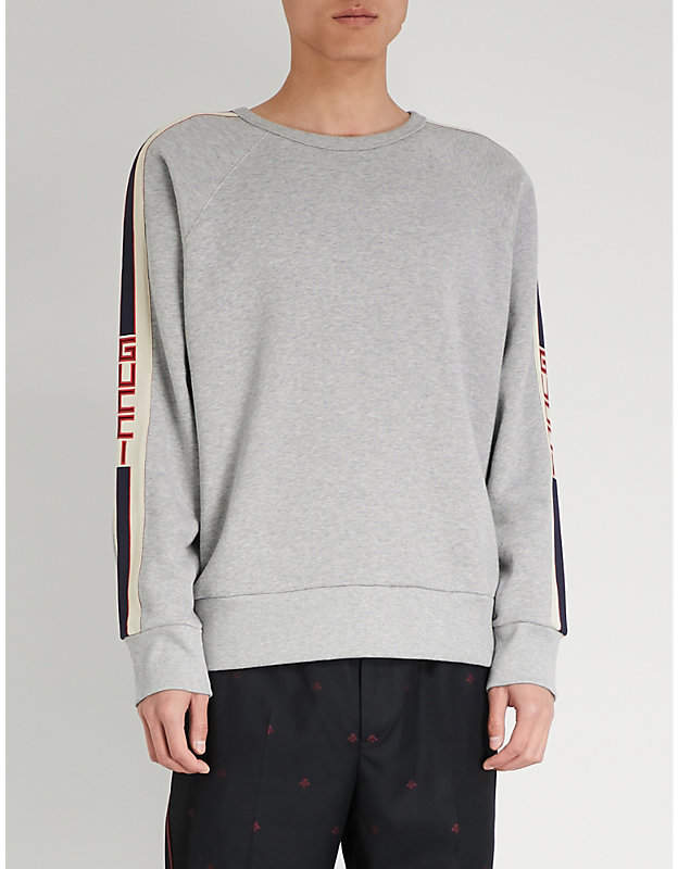 Gucci Logo side-stripe cotton-jersey sweatshirt