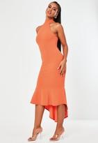 Missguided Coral Halterneck Frill Hem Midi Dress