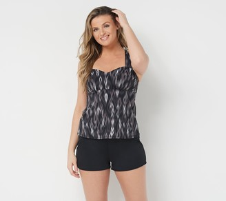 Denim & Co. Beach H-Back Tankini Top with Shorts