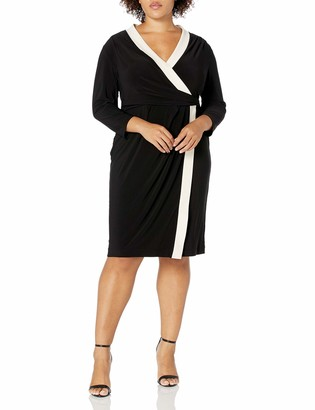 Anne Klein Women's Plus Size Colorblock WRAP Dress