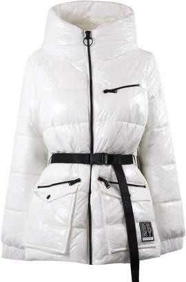 DKNY White Shiny Nylon Hood Jacket