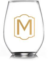 """Jay Import Monogram Gold """"M"""" Stemless Goblets - Set of 4"""