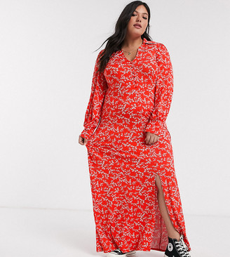 Asos DESIGN Curve long sleeve western shirt dress in ditsy print in red