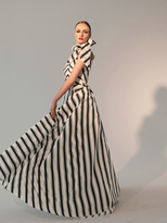 Nicole Bakti 595 High Neck Striped Evening Gown