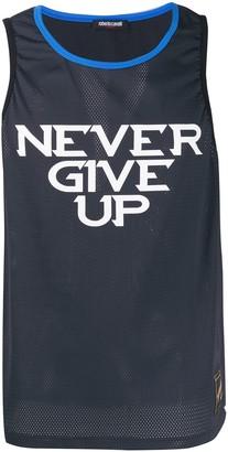 Roberto Cavalli Never Give Up mesh tank top