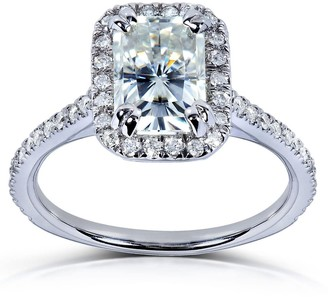 Annello by Kobelli 14k White Gold 1 1/2ct TGW Radiant Moissanite and Diamond Rectangular Halo Engagement Ring