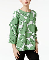 Alfani Petite Printed Ruffle-Sleeve Top, Only at Macy's