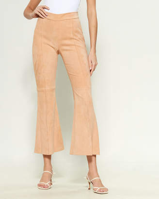 Rosetta Getty Cropped Flare Suede Pants