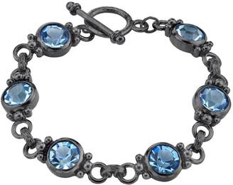 1928 Jet & Ice Blue Toggle Bracelet