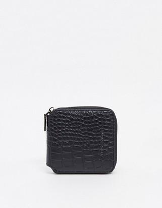 Claudia Canova small zip round purse in black croc