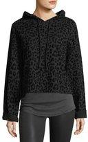 RtA Denim Marvin Hooded Leopard-Print Sweatshirt