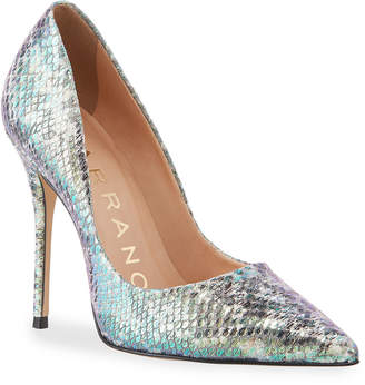 Carrano Loretta Holograph Silver Leather Pumps