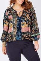 NEW Jaase Womens Blouses Willow Clay Top Clay Print