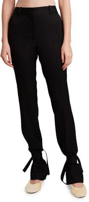 J.W.Anderson Slim Straight-Leg Trousers w/ Self-Tie Cuff