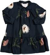 Oscar de la Renta FLOWER PRINT SILK SATIN DRESS