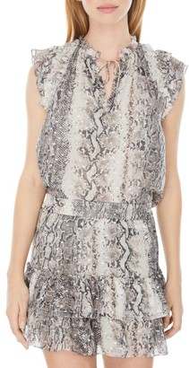 Generation Love Mimi Snake Print Metallic Top