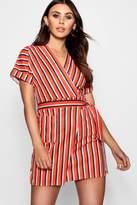 boohoo Petite Poppy Stripe Obi Wrap Dress
