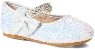 Zula Shoes Girls' Mary Janes WHITE - White Sequin Rhinestone Bow Flat - Girls