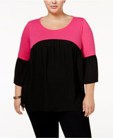 NY Collection Plus Size Colorblocked Peasant Top