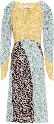 Lanvin Paneled Floral-print Silk Midi Dress