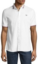 Fred Perry Twin-Tipped Short-Sleeve Waffle Shirt, White