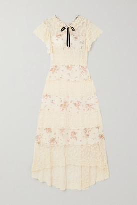 Philosophy di Lorenzo Serafini Velvet-trimmed Floral-print Chiffon And Embroidered Lace Midi Dress - Ivory