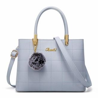 BestoU Women Fashion Handbag Shoulder Bag Ladies PU Leather Tote Messenger Bag with Plush BallUpgraded Version(Blue)
