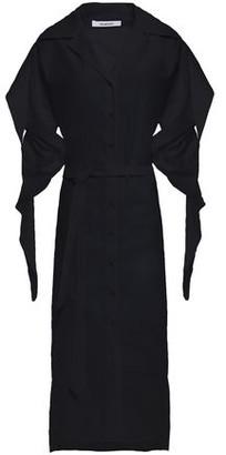 Chalayan Belted Ruched Cotton-poplin Midi Shirt Dress