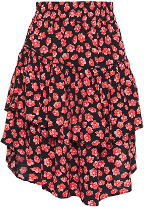 Ganni Tiered Floral-print Crepe Mini Skirt