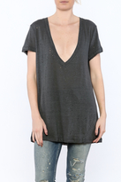 Olivaceous V-Neck Distressed Tee