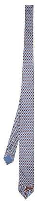Prada Logo Print Silk Tie - Mens - Blue Multi