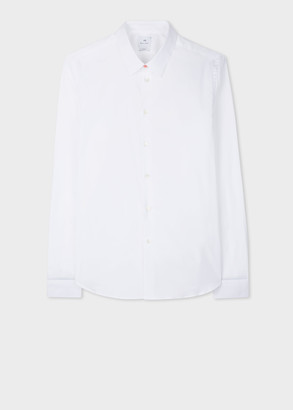 Paul Smith Men's Slim-Fit White Stretch-Cotton Shirt With 'Sports Stripe' Cuff Lining