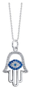 Unwritten Gratitude & Grace Fine Silver Plated Cubic Zirconia Hamsa Pendant Necklace