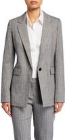 Lafayette 148 New York Rhoda Speckled Herringbone One-Button Blazer