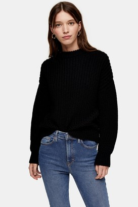 Topshop CONSIDERED Black Crew Neck Sweater With Recycled Polyester
