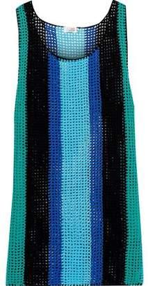 Diane von Furstenberg West Striped Crocheted Cotton Tank