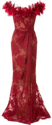 Marchesa Floral Applique Trim Lace Gown
