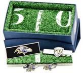 Cufflinks Inc. Men's Baltimore Ravens Cufflinks w/ Shield 3-Piece Set
